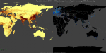 Global page views and population density - split screen