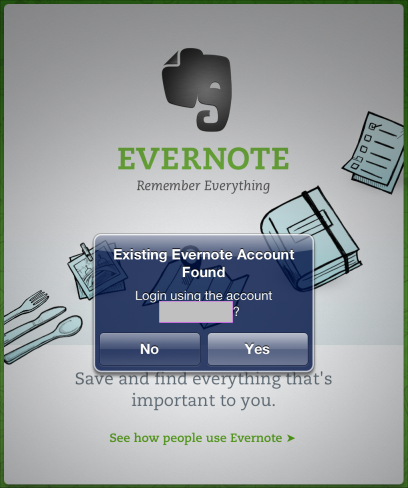 Evernote dialog box